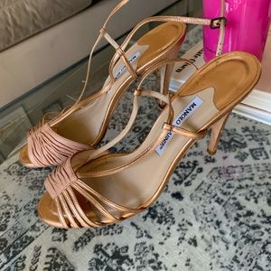 Manolo Blahnik rose gold strappy pumps 39.5